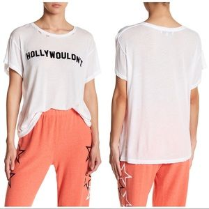 """Wildfox """"Hollywouldn't"""" B/W Distressed Tee NWOT S"""